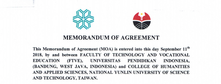 MoA antara FPTK UPI Indonesia dan College of Humanities and Applied Sciences, National Yunlin University (YUNTECH) Taiwan