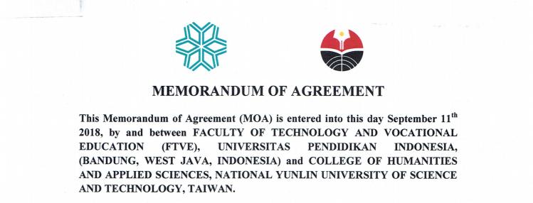MoA antara FPTK UPI Indonesia dan College of Humanities and Applied Sciences, National Yunlin University (YUNTECH) Taiwan