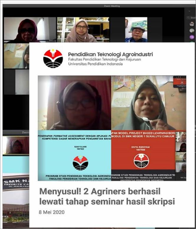 MAHASISWA PRODI PENDIDIKAN TEKNOLOGI AGROINDUSTRI BERHASIL LEWATI SEMINAR HASIL SKRIPSI SECARA DARING