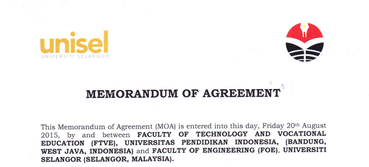 MoA between Faculty of Technology  and Vocational Education UPI and Faculty of Engineering University Selangor Malaysia