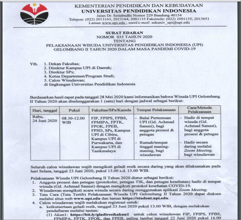 Pelaksanaan Wisuda UPI Gelombang II Tahun 2020 Dalam Masa COVID 19