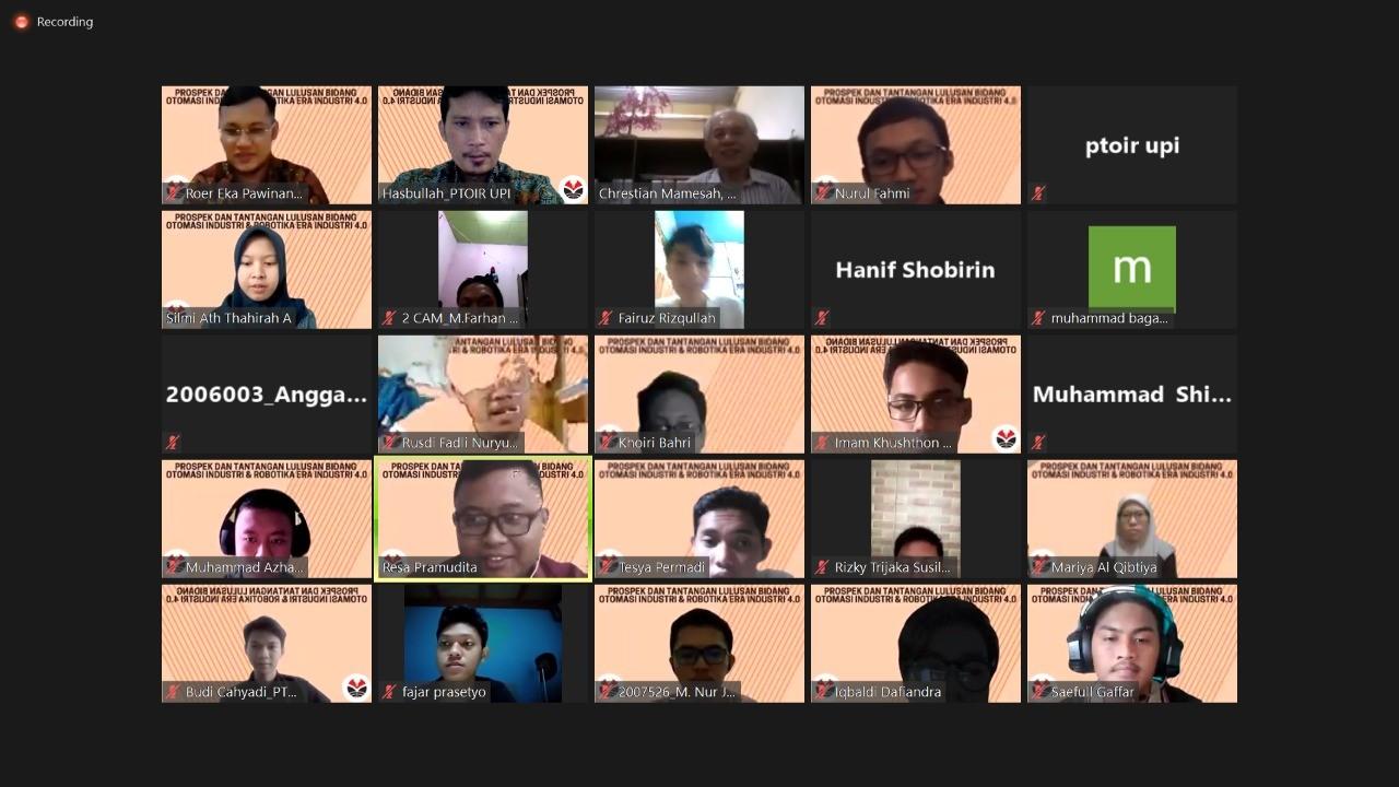 Prodi PTOIR FPTK UPI Selenggarakan Webinar Era Revolusi Industri 4.0 : Prospek dan Tantangan Lulusan  Bidang Otomasi Industri dan Robotika