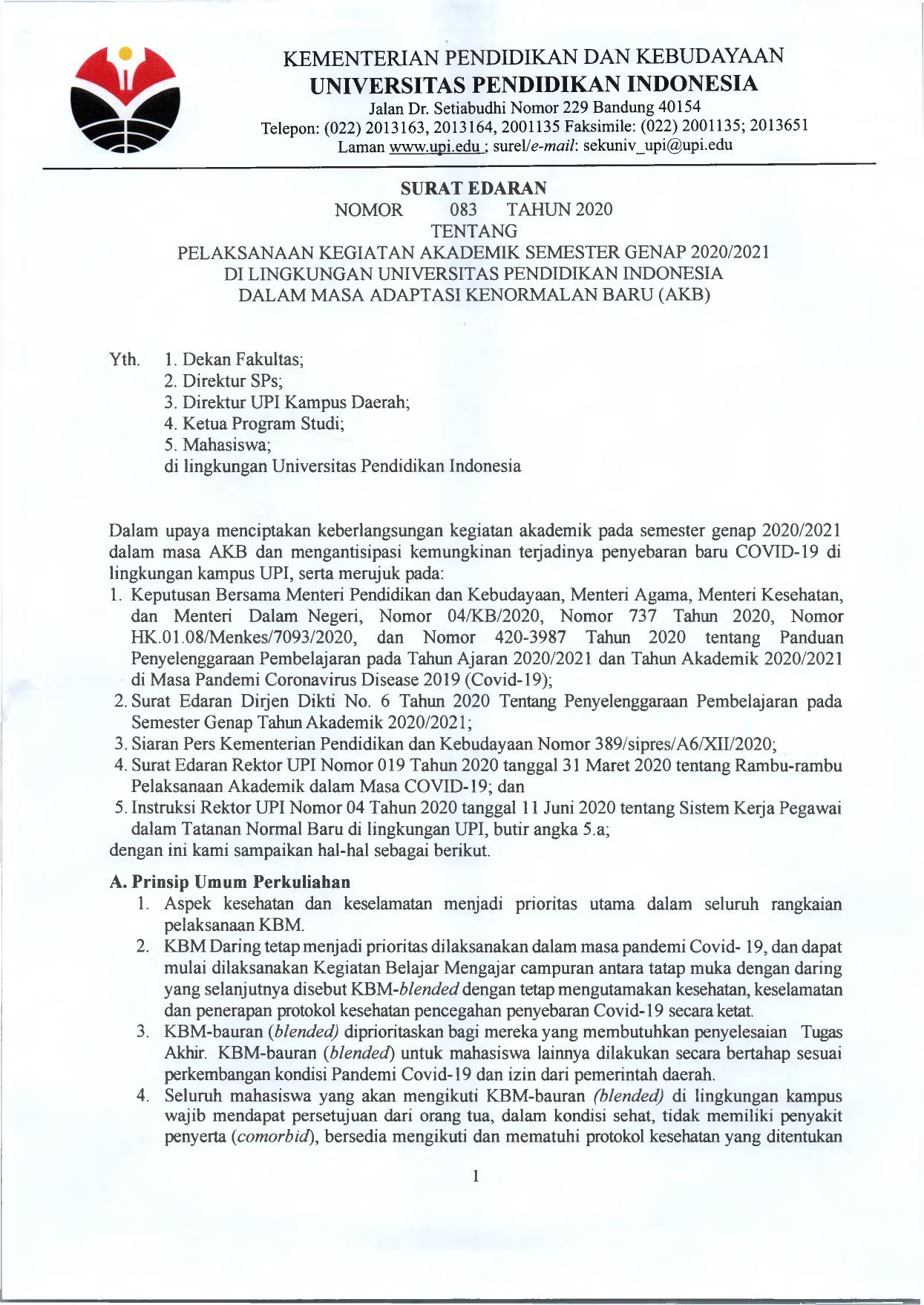 Surat Edaran Pelaksanaan Kegiatan Akademik Semester Genap 202020-2021 di Lingkungan UPI dalam Masa Adaptasi Kenormalan Baru AKB