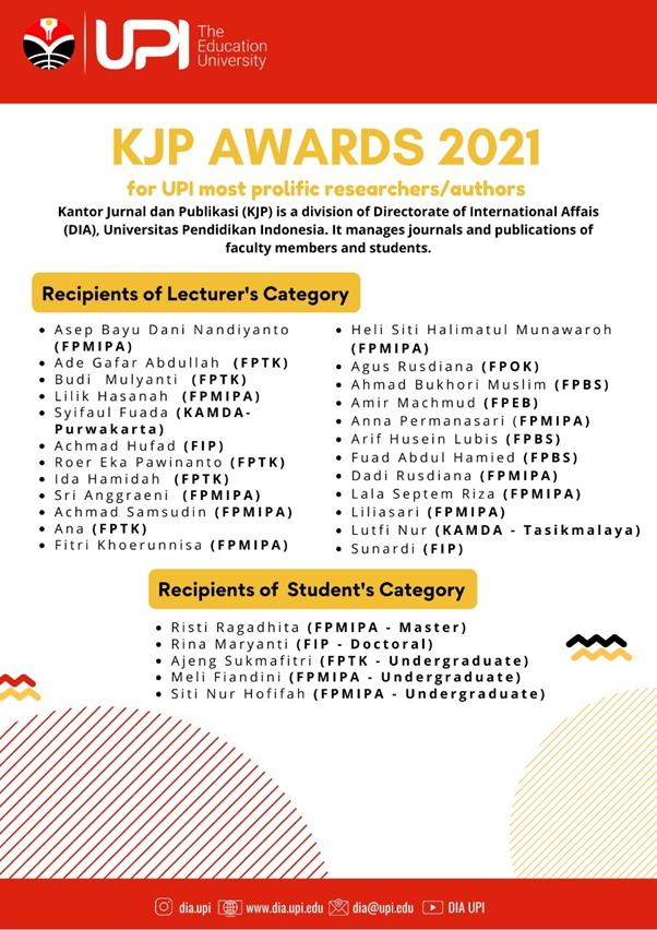 Dosen FPTK UPI Raih Penghargaan dalam KJP Awards 2021