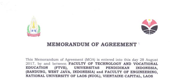 MoA antara FPTK UPI Indonesia dan Faculty of Engineering, National University of Laos (NUOL) Laos