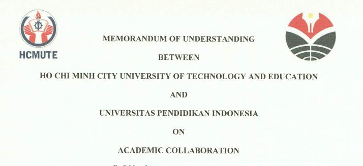 MoU Between Ho Chi Min City University of Technology and Education Vietnam and Universitas Pendidikan Indonesia