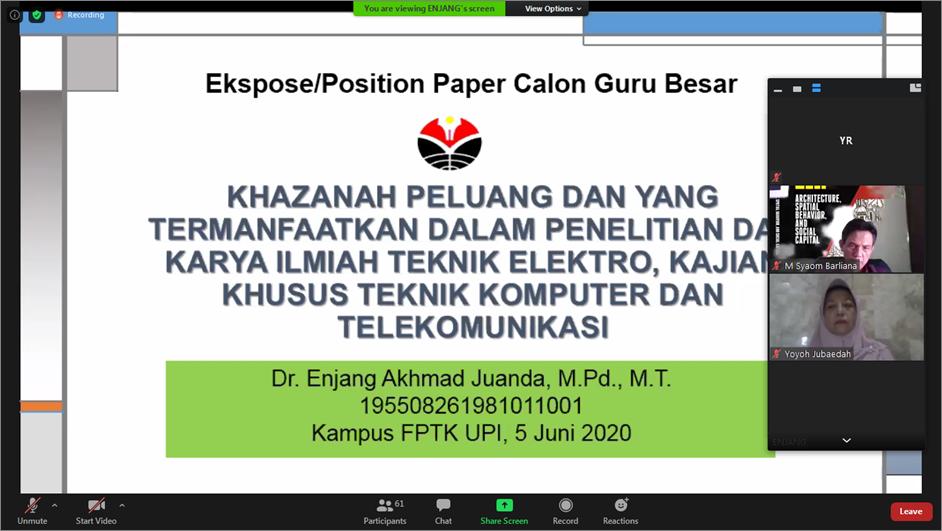 Dr. Enjang Ahmad Juanda, M.Pd., M.T., Lakukan Presentasi Paper Calon Guru Besar