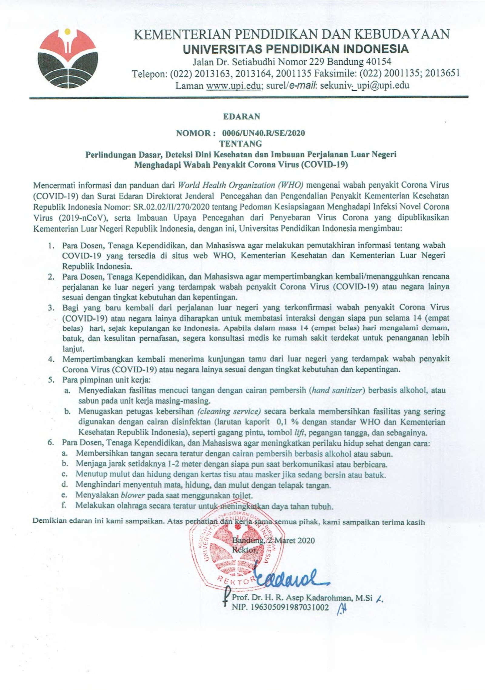 Surat Edaran Rektor UPI tentang Perlindungan Dasar, Deteksi Dini Kesehatan dan Imbauan Perjalanan Luar Negeri Menghadapi Wabah Penyakit Corona Virus