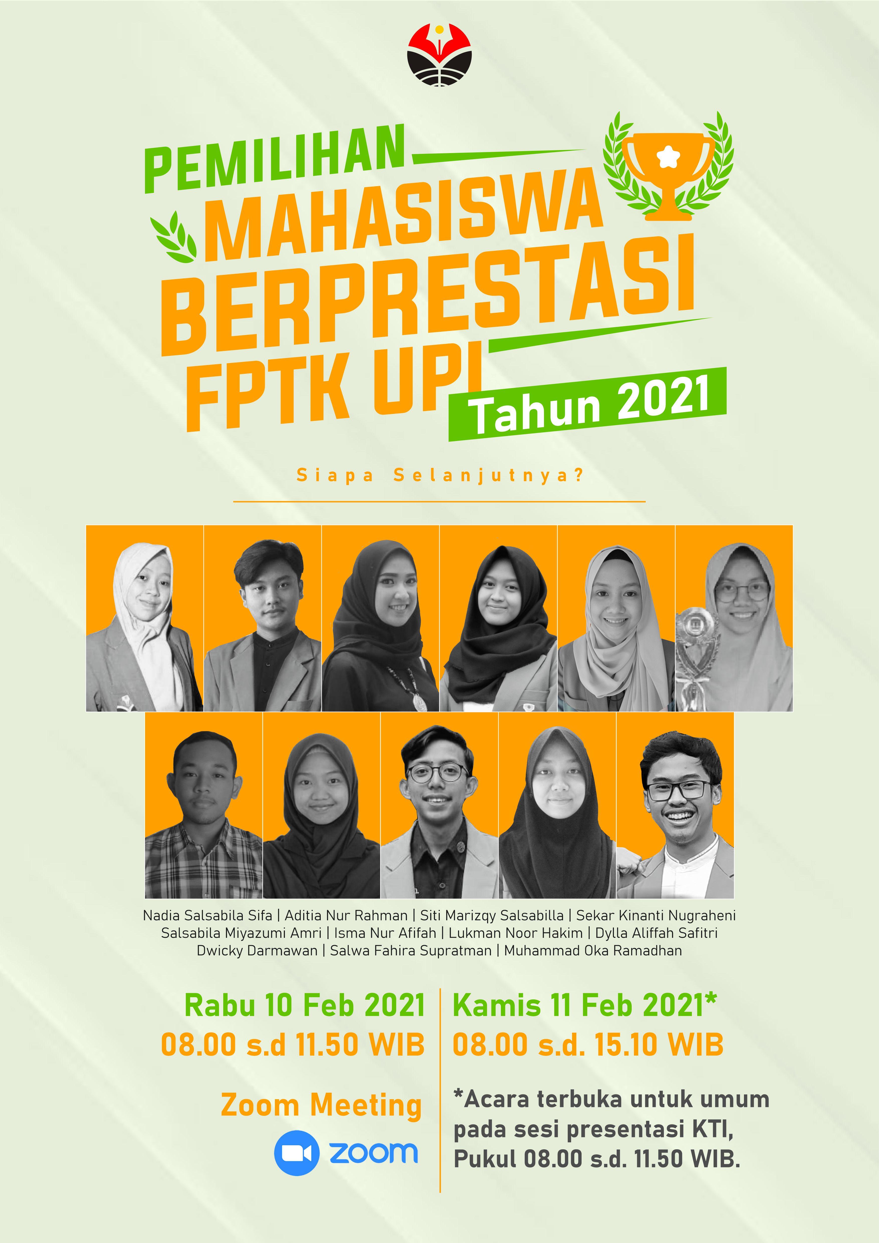 Pemilihan Mahasiswa Berprestasi FPTK UPI Tahun 2021