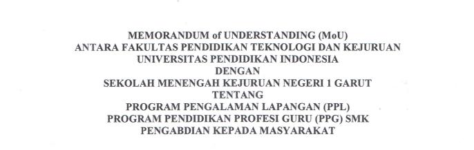 MoU antara FPTK UPI dan SMKN 1 Garut