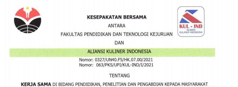 Kesepakatan Bersama antara FPTK UPI dan Aliansi Kuliner Indonesia