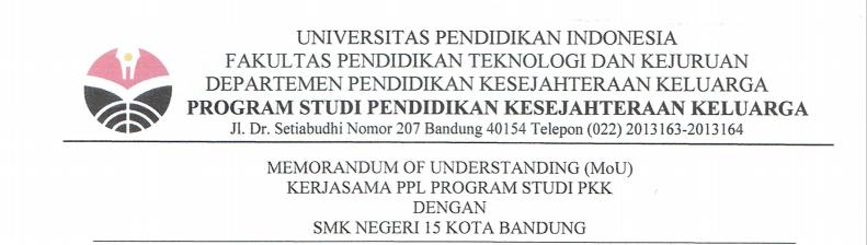 Memorandum of Agreement Between Family Welfare Education Study Program and State Vocational High School 15 Bandung