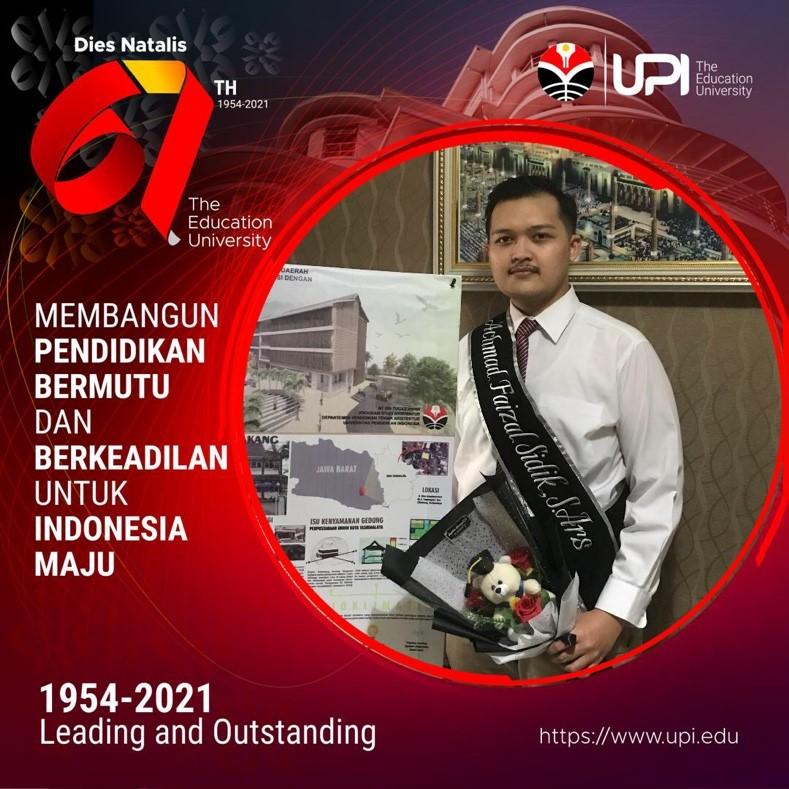 Achmad Faizal Sidik menjadi wisudawan terbaik Prodi Arsitektur FPTK UPI di masa pandemi