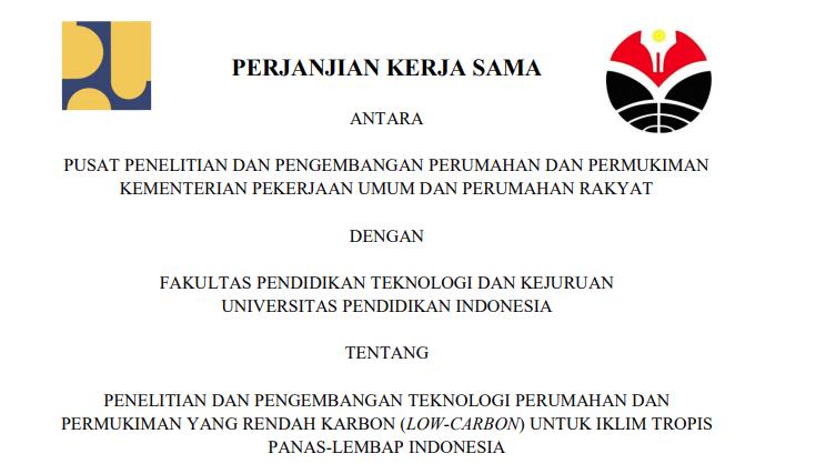 Perjanjian Kerja Sama antara Puslitbang Perumahan  dan  Permukiman dengan FPTK UPI