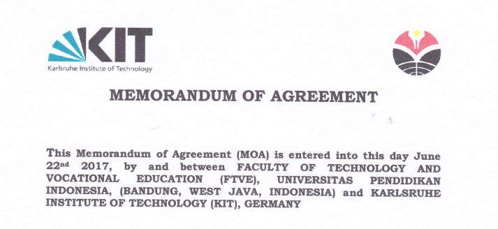MoA antara FPTK UPI (Indonesia)  dan Karlshure Institute of Technology (KIT) Jerman