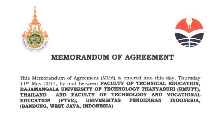 Mou antara Faculty of Technical Education, Rajamangala University of Technology Thanyaburi (RMUTT), Thailand dan FPTK UPI Indonesia