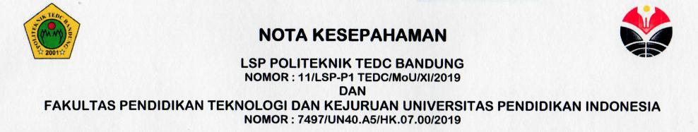 Nota Kesepahaman antara LSP Politeknik TEDC Bandung dan FPTK UPI